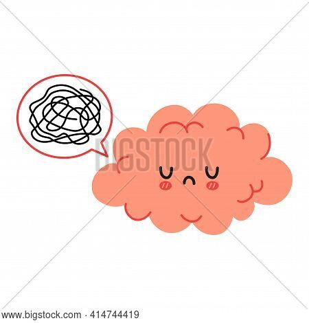 Cute Funny Brain Character And Speech Bubble With Tangle Of Messy Thoughts. Vector Cartoon Kawaii Ch