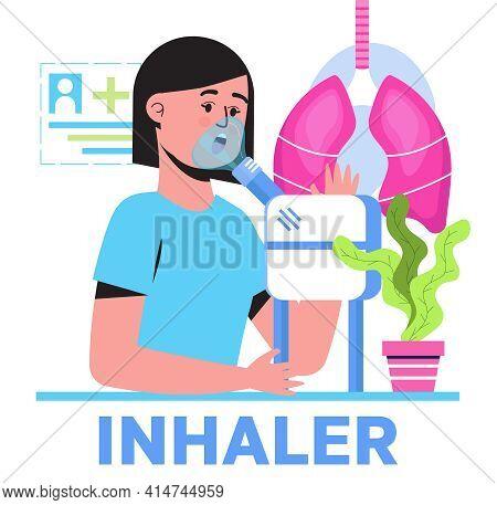 Inhaler, Nebulizer Using By Patient Suffering Bronchial Asthma. Metaphor Of Tuberculosis, Pneumonia,