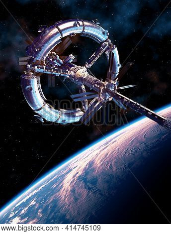 Futuristic Space Station Orbiting Planet Earth. 3d Illustration.