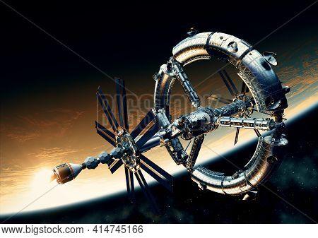 Futuristic Space Station Orbiting Yellow Planet. 3d Illustration.