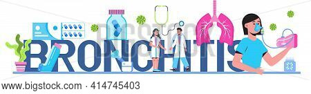 Bronchitis Concept Vector For Medical Website, Blog, Header. Patient Suffering Bronchial Asthma. Inh