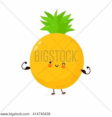 Cute Funny Pineapple Fruit Show Muscle. Vector Hand Drawn Cartoon Kawaii Character Illustration Icon