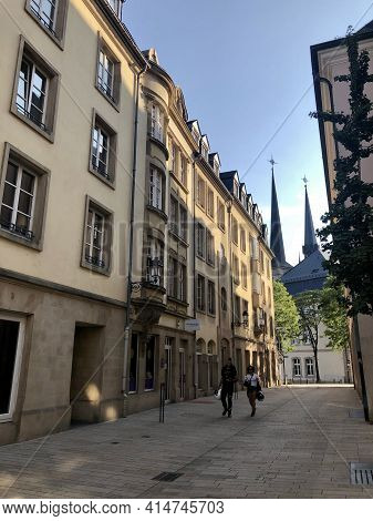Luxembourg City, Luxembourg - August 25, 2019: Street In The City Center Of Luxembourg