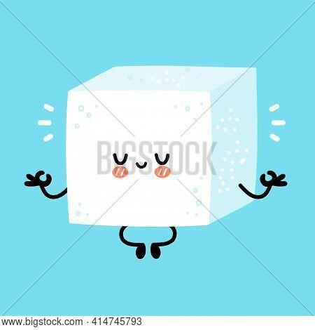 Cute Funny Happy Sugar Piece Cube Character Meditate In Yoga Pose. Vector Flat Line Cartoon Kawaii C