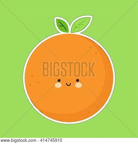 Cute Funny Orange Fruit Character. Vector Hand Drawn Cartoon Kawaii Character Illustration Icon. Ora