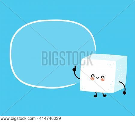 Cute Funny Happy Sugar Piece Cube Character Withtext Box. Vector Flat Line Cartoon Kawaii Character