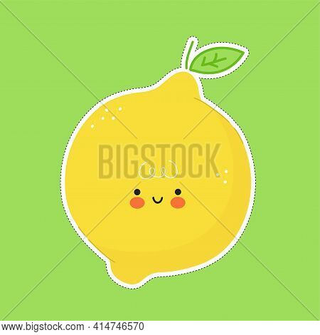 Cute Funny Lemon Fruit Character Sticker. Vector Hand Drawn Cartoon Kawaii Character Illustration Ic