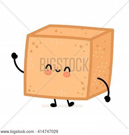 Cute Brown Cane Sugar Cube Character. Vector Flat Line Cartoon Kawaii Character Illustration Icon. I