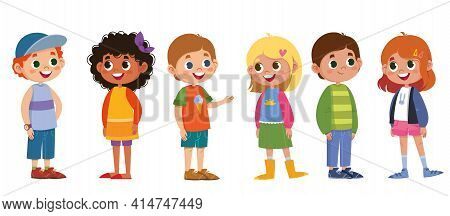 Children Schoolchildren Vector Set. Boys And Girls Laugh And Play. The Black-skinned Woman Is Beauti