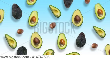 Pattern Of Fresh Ripe Green Avocados. Avocado Banner. Avocado Pieces And Halves Isolated On Ablue An