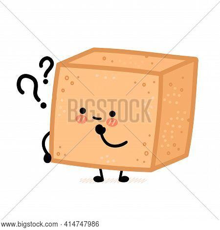 Cute Brown Cane Sugar Cube Character With Question Mark. Vector Flat Line Cartoon Kawaii Character I
