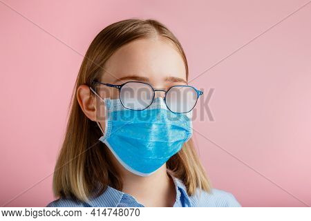 Foggy Glasses Wearing On Young Woman. Teenager Girl In Medical Protective Face Mask And Eyeglasses W