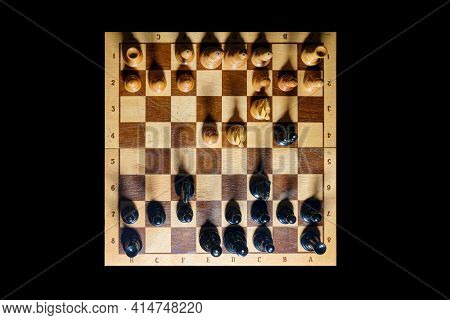 A Chess Game From Start To Finish, Checkmate White From The Black Queen. Opening Of The Four Knights