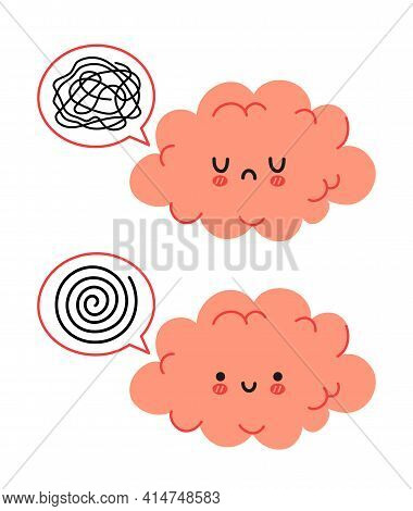 Cute Funny Brain Character And Speech Bubble With Messy Thoughts. Vector Hand Drawn Cartoon Kawaii C