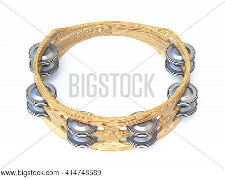 Wooden Tambourine 3d Render Illustration Isolated On White Background