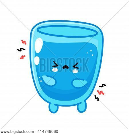 Cute Funny Sad Water Glass Character. Vector Flat Line Cartoon Kawaii Character Illustration Icon. I