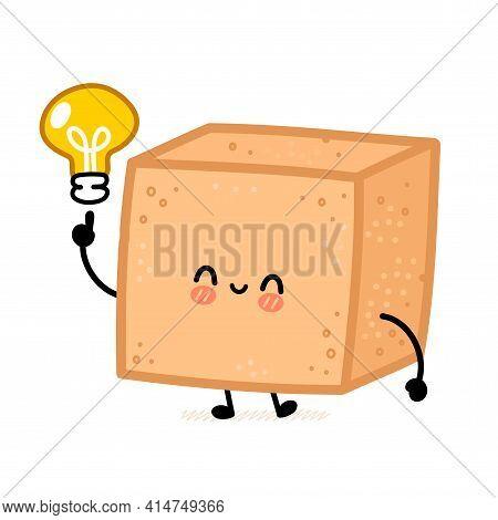 Cute Brown Cane Sugar Cube Character With Idea Light Bulb. Vector Flat Line Cartoon Kawaii Character