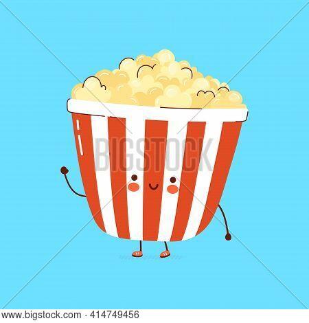Cute Funny Popcorn Character. Vector Hand Drawn Cartoon Kawaii Character Illustration Icon. Isolated