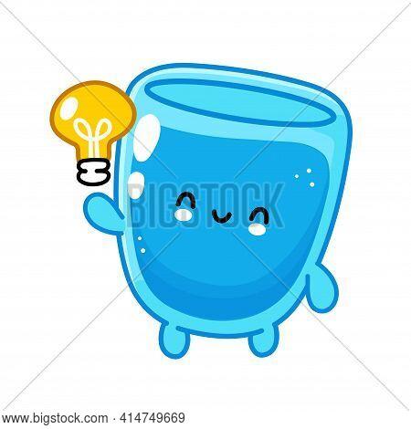 Cute Funny Happy Water Glass Character With Idea Light Bulb. Vector Flat Line Cartoon Kawaii Charact