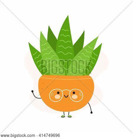 Cute Funny Succulent In A Pot Character. Vector Hand Drawn Cartoon Kawaii Character Illustration Ico