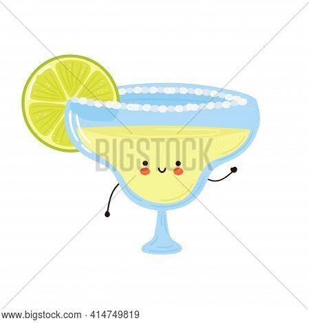 Cute Funny Margarita Cocktail Character. Vector Hand Drawn Cartoon Kawaii Character Illustration Ico