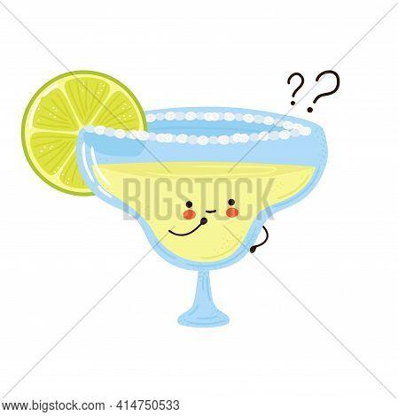 Cute Funny Margarita Cocktail With Question Marks. Vector Hand Drawn Cartoon Kawaii Character Illust