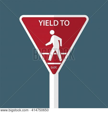 Traffic Sign Yield To Pedestrians Black, Bus, Car, Caution, City