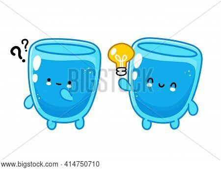 Cute Funny Happy Water Glass Character With Question Mark And Idea Lightbulb. Vector Flat Line Carto