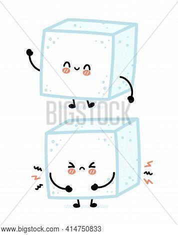 Cute Funny Happy And Sad Sugar Piece Cube Character. Vector Flat Line Cartoon Kawaii Character Illus