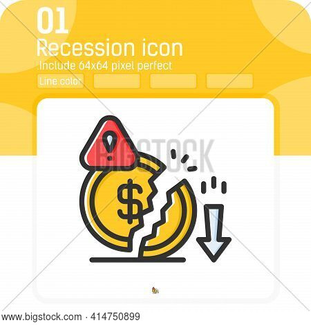 Decrease Money Icon With Outline Color Style Isolated On White Background. Graphics Illustration Rec