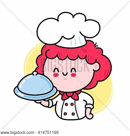 Cute Funny Chef Cook Girl Character Serving A Dish. Vector Hand Drawn Cartoon Kawaii Character Illus