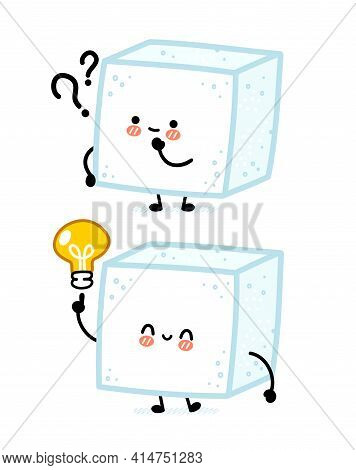 Cute Sugar Piece Cube Character With Question Mark And Idea Lightbulb. Vector Flat Line Cartoon Kawa