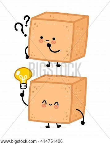 Cute Brown Cane Sugar Piece Cube Character With Question Mark And Idea Lightbulb. Vector Flat Line C
