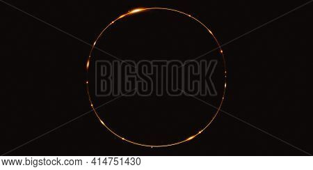 Golden Light Curve Abstract Circle Background Sparkle Sparkle 3d Illustration