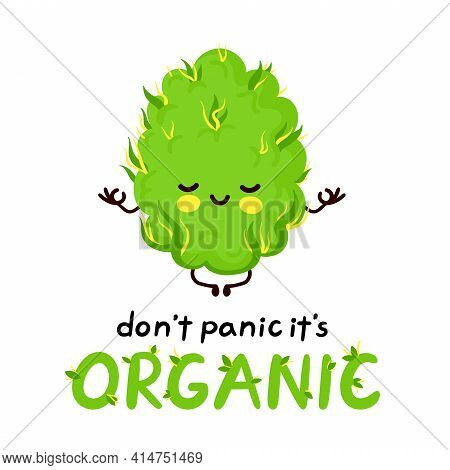 Cute Happy Meditating Weed Bud. Dont Panic Its Organic Card. Isolated On White Background. Vector Ca