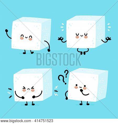 Cute Funny Happy Sugar Piece Cube Character Set Collection. Vector Flat Line Cartoon Kawaii Characte