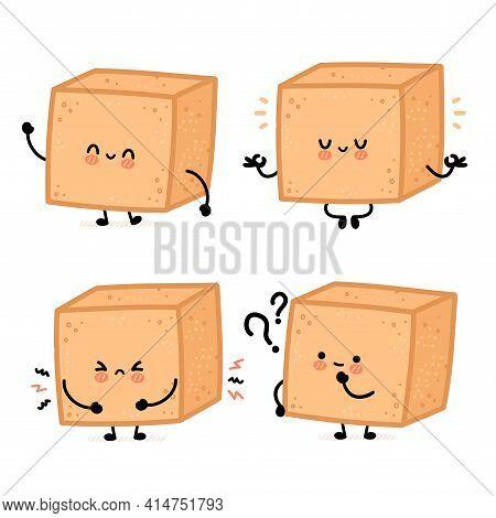 Cute Funny Happy Brown Cane Sugar Piece Cube Character Set Collection. Vector Flat Line Cartoon Kawa