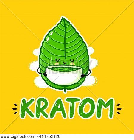 Cute Funny Kratom Leaf Drink Tea Character Logo Design. Vector Flat Line Cartoon Kawaii Character Il