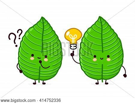Cute Funny Happy Kratom Leaf Cube Character With Question Mark And Idea Lightbulb. Vector Flat Line