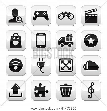 Web internet grey buttons set - vector