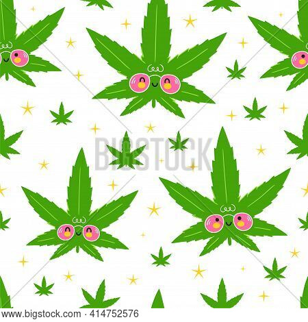 Cute Funny Happy Weed Marijuana Leafs And Stars Seamless Pattern. Vector Kawaii Cartoon Illustration