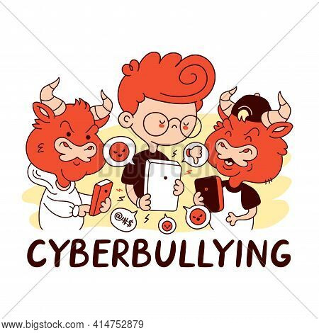 Kid Getting Bullied. Cyberbullying Quote. Vector Cartoon Character Flat Line Illustration. Isolated