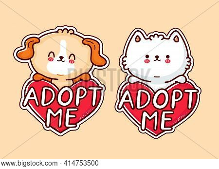 Cute Funny Puppy Dog And Cat Hold Heart Sign Adopt Me. Vector Flat Line Cartoon Kawaii Character Ill