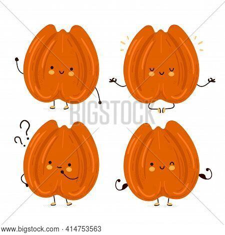 Cute Funny Pecan Nut Character Set Collection. Vector Flat Cartoon Kawaii Character Illustration Ico