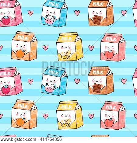 Cute Funny Happy Flavored Milk Box And Hearts Seamless Pattern. Vector Kawaii Cartoon Illustration I