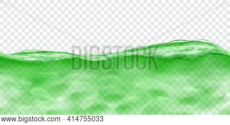 Translucent Water In Green Colors With Caustics Ripple With Seamless Horizontal Repetition, Isolated