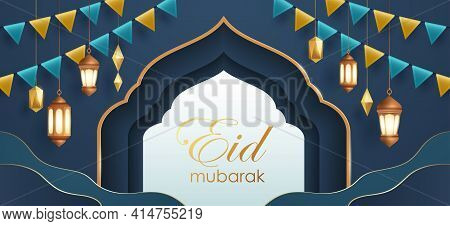 Eid Mubarak Classic Blue Paper Graphic Of Islamic Festival Background With Party Flag And Islamic De