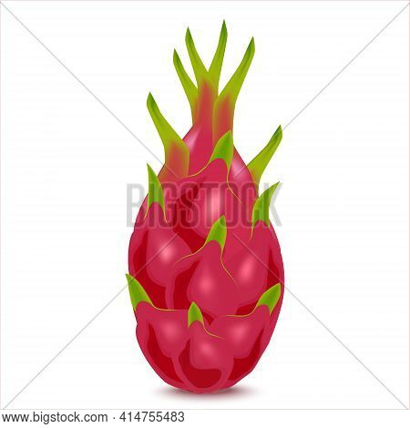 Close-up View Of Fresh Ripe Dragon Fruits Isolated On White Background. Colorful Healthy Organic Pit