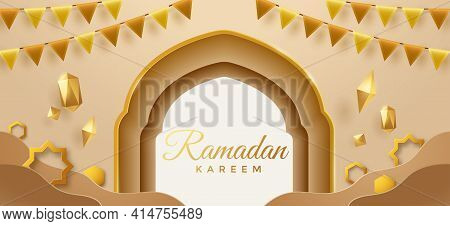 Eid Mubarak Golden Paper Graphic Of Islamic Festival Background With Party Flag And Islamic Decorati
