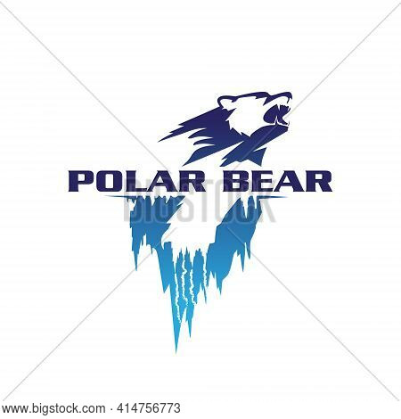 Polar Bear Vector Symbol Illustration Iceberg Concept